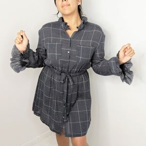 Cinq A Sept Dana Shift Blue White Plaid Dress